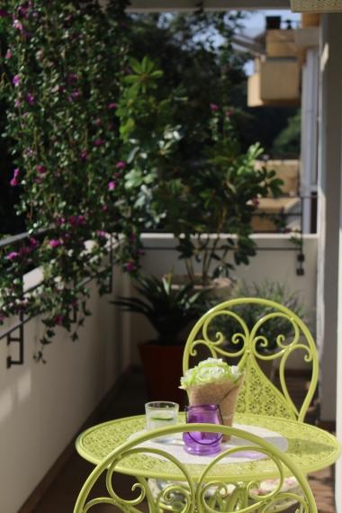 עיצוב מרפסת שמש בתל אביב עם צמחיה מלאכותית
