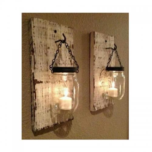 מרפסות יפות עששית זכוכית בשילוב עץ לתלייה על קיר
