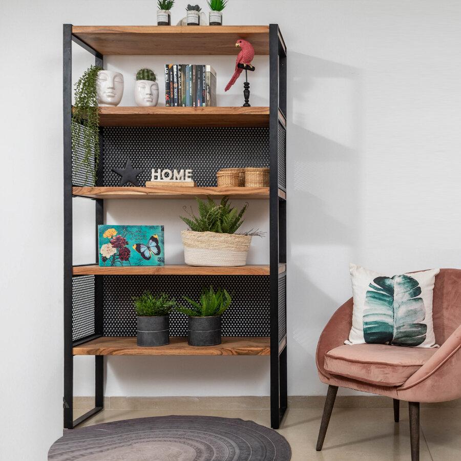 ספריית עץ ומתכת רוחב 100 לעיצוב הבית