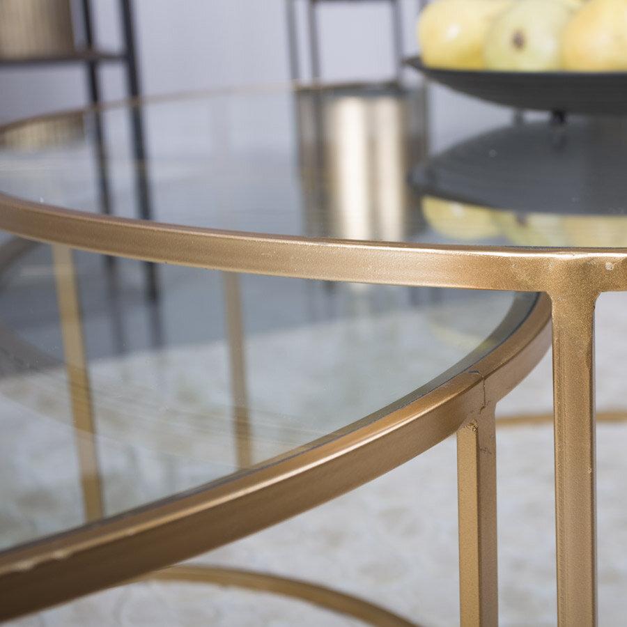 צמד שולחנות לסלון זהב מרפסות יפות