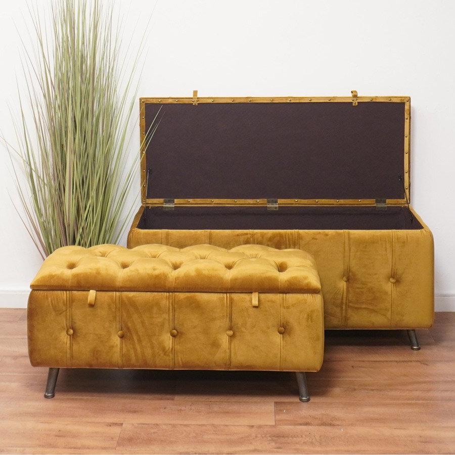 שני ספסלי קטיפה צבע חרדל