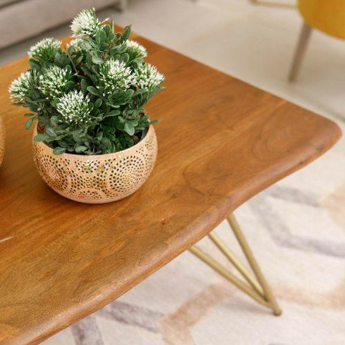 שולחן סלון בליני מוזהב מרפסות יפות