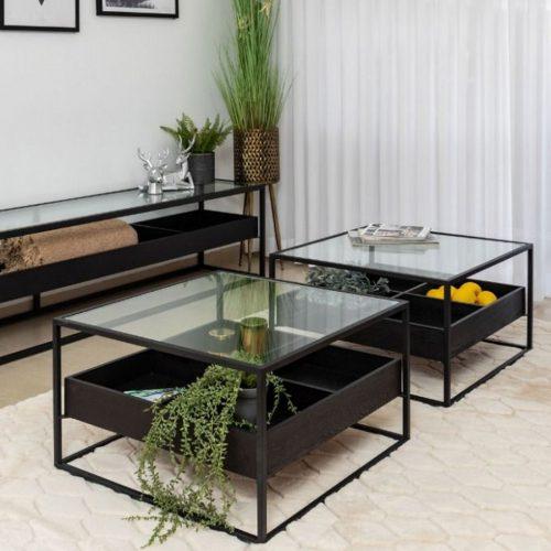 שולחן סלון מרובע ברזל עם זכוכית