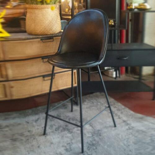 כיסא בר שחור דמוי עור מרפסות יפות