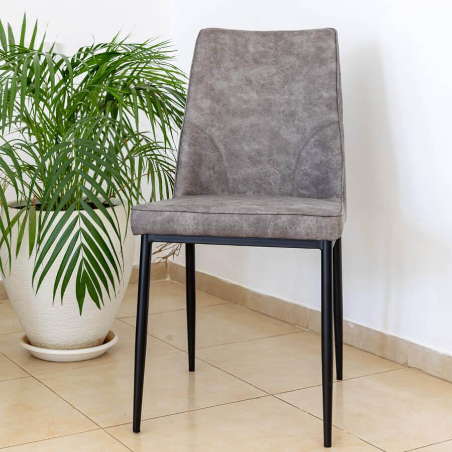 כיסא שחר אפור PU לרכישה במרפסות יפות