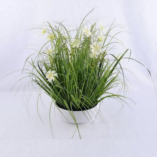 עציץ לבן צמחיה מלאכותית