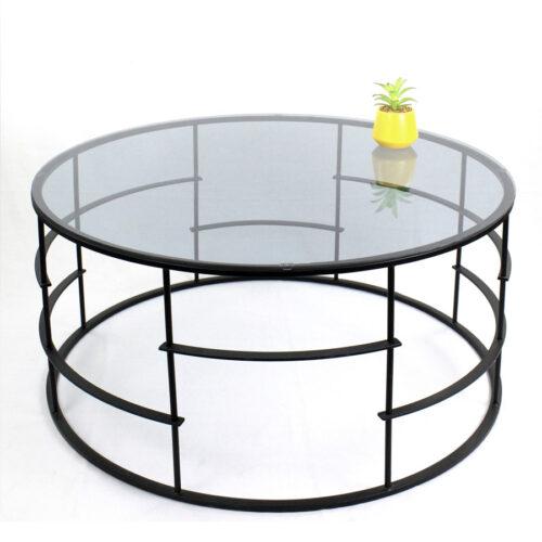 שולחן סלון עגול זכוכית מתכת שחורה