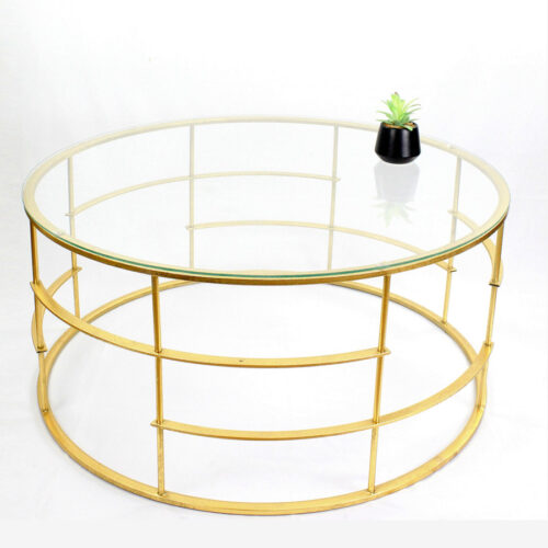 שולחן סלון עגול זכוכית מתכת מוזהבת