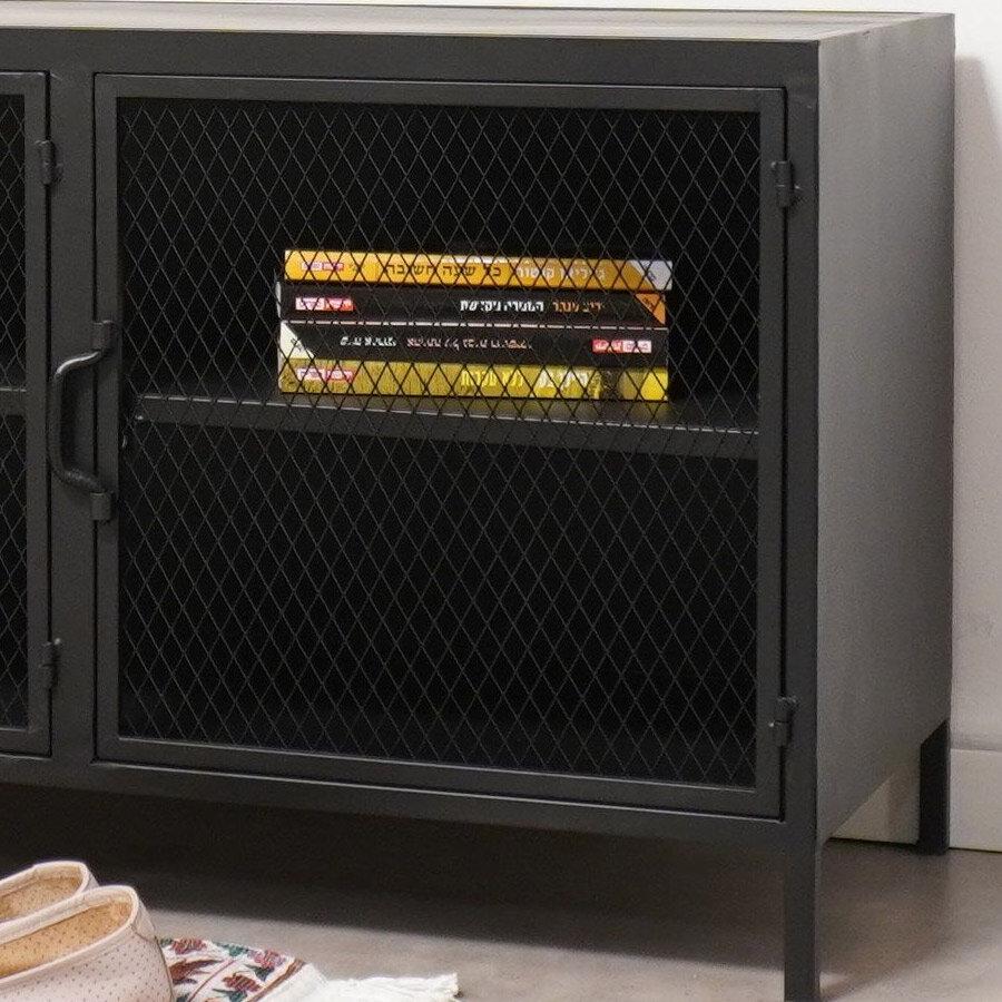 מזנון טלויזיה בצבע שחור עשוי מתכת