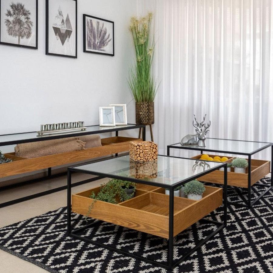 שולחן סלון מרובע זכוכית עם עץ בצבע אלון