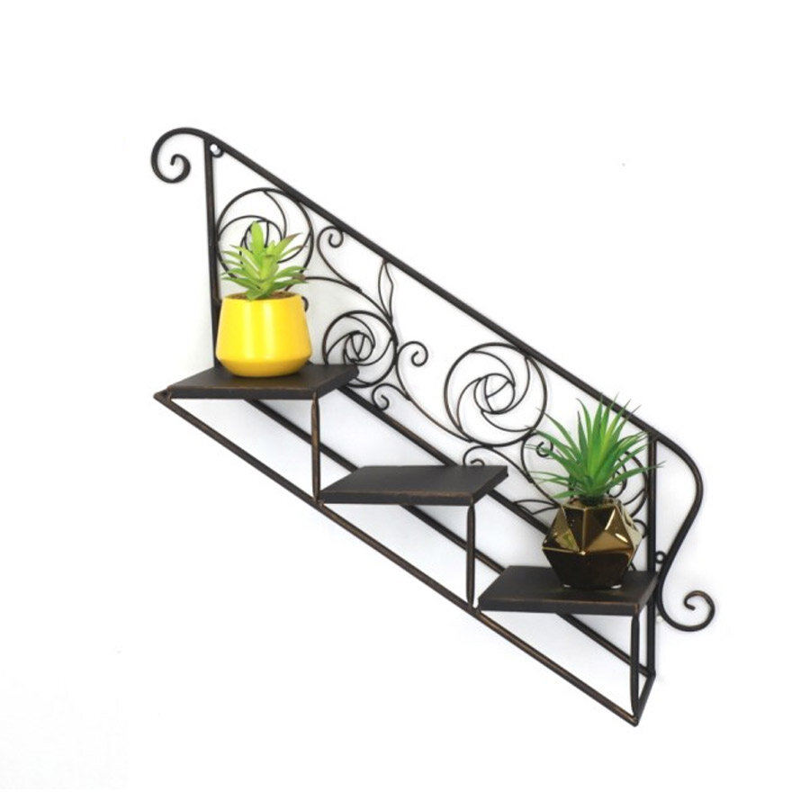 מדף עם שלוש מדרגות בצבע שחור
