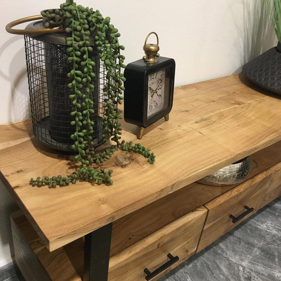 מזנון עץ מלא עם רגלי ברזל מרפסות יפות