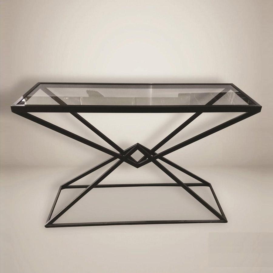 קונסולה משולשים ברזל עם זכוכית