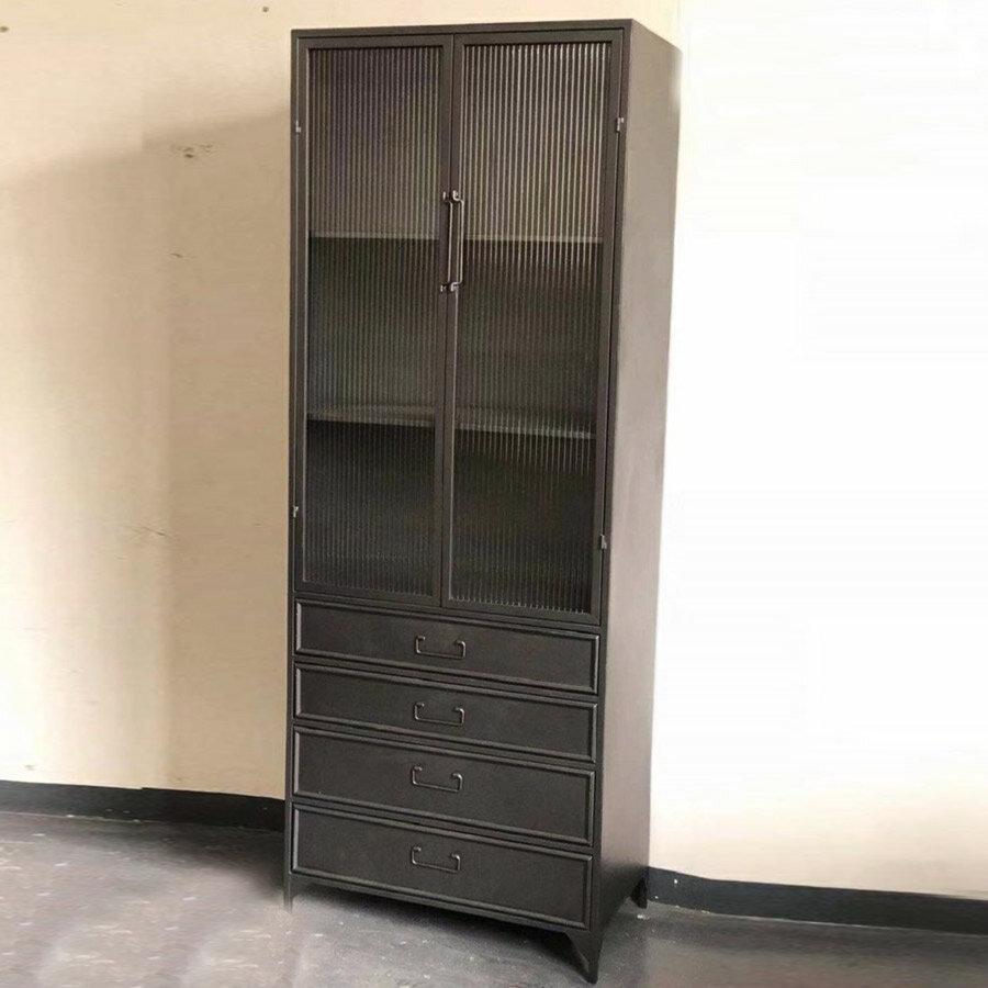 כוננית סגורה עשויה מתכת אפור שחור