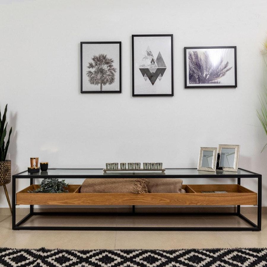 מזנון מעוצב לסלון אלמוג בצבע אלון מרפסות יפות