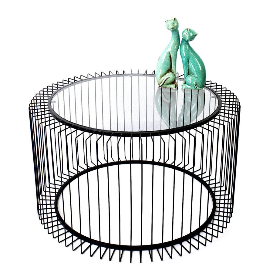שולחן סלון עגול זכוכית וחוטי ברזל