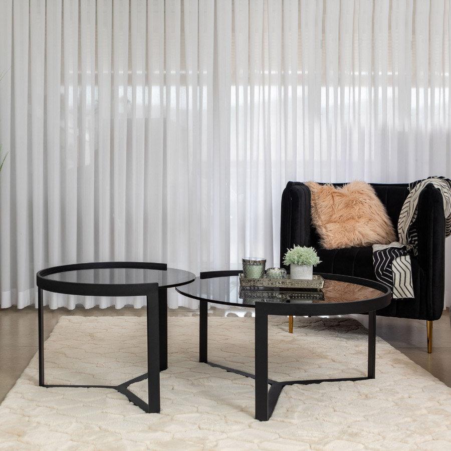 שולחנות סלון זכוכית שחורה שובל לרכישה במרפסות יפות