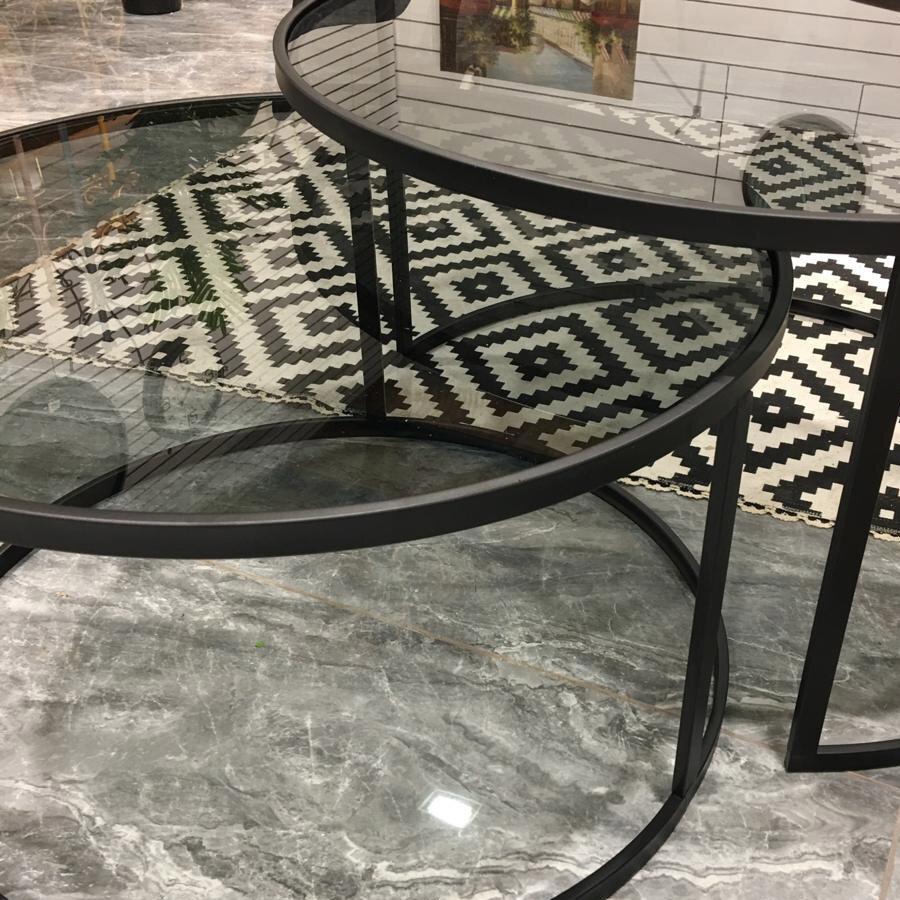 שולחנות סלון מתכת שחורה זכוכית כהה מרפסות יפות
