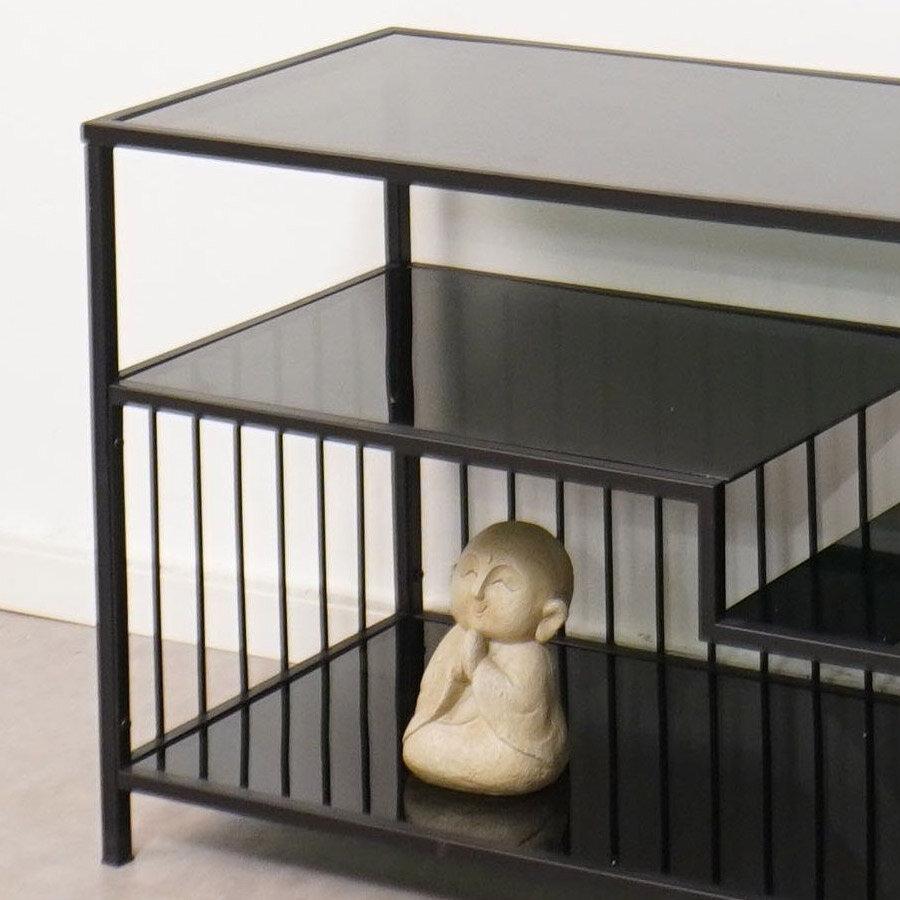 מזנון פסי ברזל עם זכוכית שחורה לרכישה באתר מרפסות יפות