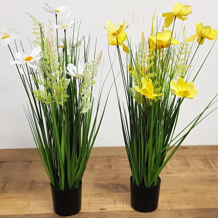עציץ פרחים מלאכותי איכותי צהוב או לבן
