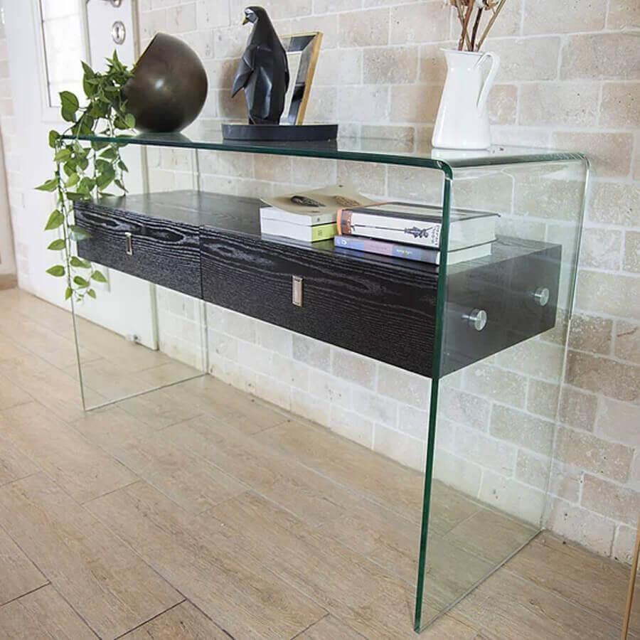 קונסולה גל שחורה עם זכוכית מחוסמת מרפסות יפות