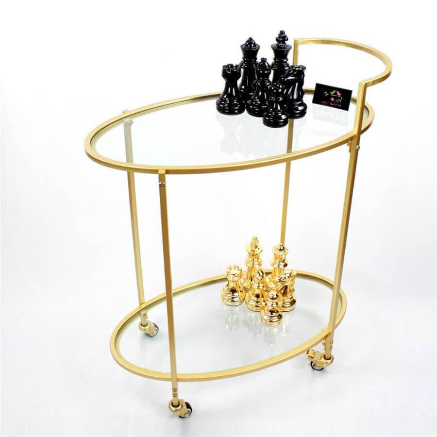 עגלת תה זכוכית זהב