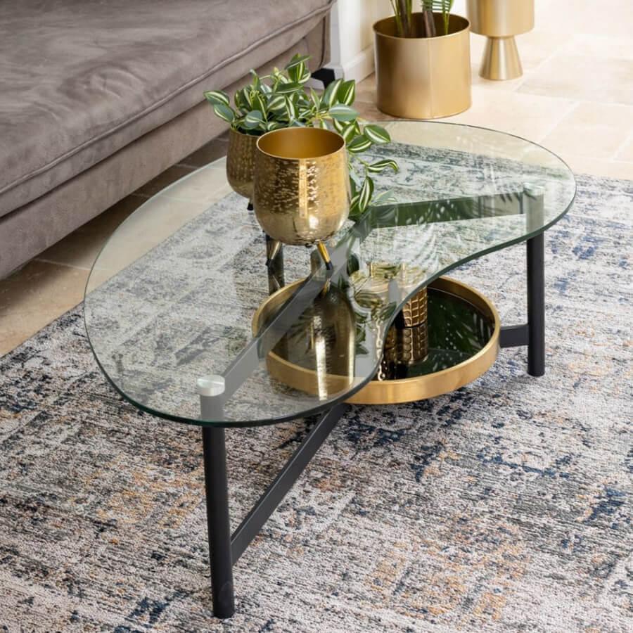 שולחן סלון זכוכית מעוצב בצורת אי